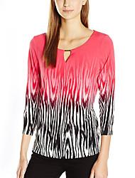 Damen Gestreift Einfach Street Schick Urlaub Ausgehen Lässig/Alltäglich T-shirt,Rundhalsausschnitt Sommer ¾-Arm Polyester