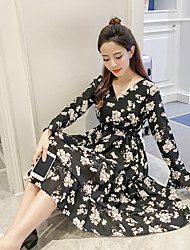 Sign spring new V-neck printing flounced chiffon dress was thin women in floral dress tide