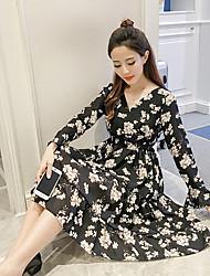 Primavera sinal de nova impressão v-neck babados vestido de chiffon era mulheres magras em maré vestido floral