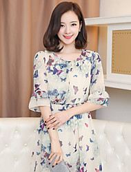 321 198 spring and summer Korean ladies temperament was thin sleeve printed chiffon dress elegant floral skirt