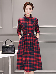 Women's Casual/Daily Sophisticated Loose Dress,Print Shirt Collar Knee-length Long Sleeve Others All Seasons Mid Rise Micro-elastic Medium