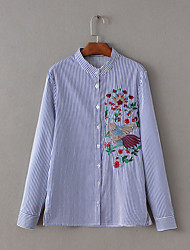 Women's Embroidery Casual/Daily Simple Spring Shirt,Striped Stand Long Sleeve Blue Polyester