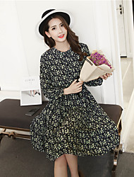 Sign 2017 spring lace long-sleeved floral chiffon dress