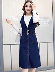 robe signe modèles printemps nouveau coréen bracelet en denim taille haute robe en deux parties longue section simple boutonnage