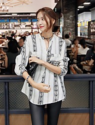 Spot 17 Korean-style fashion national wind lady literary half-open collar shirt Straight shirt