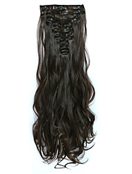 12pcs/Set 150g Chestnut Brown Wavy Hair Extension Clip In Synthetic Hair Extensions