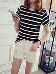Spot really making 2017 new loose short-sleeve striped short-sleeved t-shirt bottoming female clothing