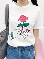 Korean street style personality wild roses fingers get printed short-sleeved cotton T-shirt real shot