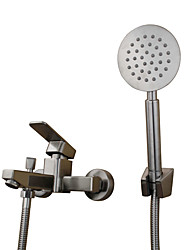 Contemporary Country Modern Tub And Shower Widespread Pullout Spray with  Ceramic Valve Single Handle Two Holes for  Stainless Steel ,