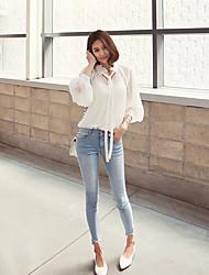 2016 Outono coreano de mangas compridas de moda cor sólida fina temperamento selvagem era camisa de chiffon fina perspectiva sexy
