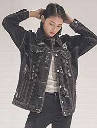 firmar agujero bf floja versión coreana de la nueva chaqueta de mezclilla estilo retro negro mujer salvaje lavado de mezclilla