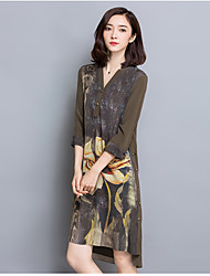 Women's Going out Loose Dress,Floral Round Neck Midi ½ Length Sleeve Silk Summer Mid Rise Micro-elastic Thin