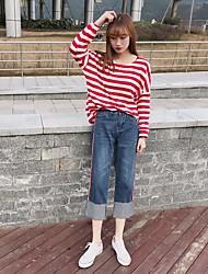 2017 весна новые модели подписать девять широкие ноги брюки талия джинсы женский край технологии