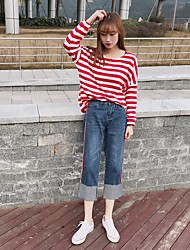 2017 spring new models Sign nine wide leg pants waist jeans female edge technology