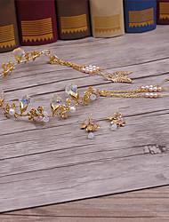 Alliage en cristal en alliage imitation perle tête-mariage occasion spéciale tiaras occasionnels 3 pièces