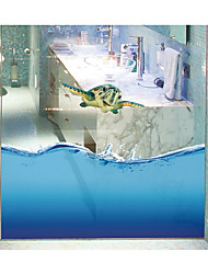 Chameleon Seamless Splice 3D Seawater PVC Glass Stickers Decoration for The Bathroom