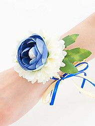 Wedding Flowers Free-form Roses Wrist Corsages Wedding Party/ Evening Blue Satin