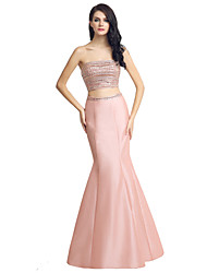 Mermaid / Trumpet Two Piece Strapless Floor Length Satin Formal Evening Dress with Beading by Sarahbridal