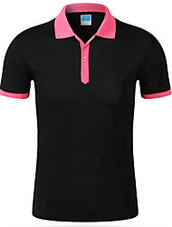 Men's Going out Work Simple Active Spring Summer T-shirtColor Block Shirt Collar Short Sleeve Cotton Polyester Medium 916619