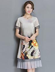 signe robe de soie style ethnique printemps 2017 nouveau tempérament de couture d'impression à manches courtes robe d'été