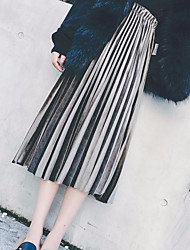 Metallic colors of autumn and winter elastic waist pleated skirt Girls long section of solid gold velvet skirts A word skirt