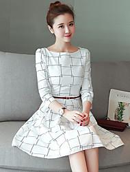 grande mancha verdadeiro tiro vestido modelos primavera cintura era fina versão coreana de mulheres&# 39; s xadrez vestido longo