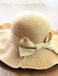 Women's Fashion Straw Hat Sun Hat Wide Brim Hat Cute Casual Solid Bowknot Beach Summer Black/Beige/Khaki