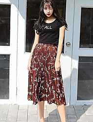 Sign 2017 spring women new Korean long section was thin waist pleated floral skirt bust