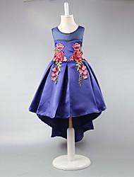 Robe de bal robe asymétrique pour fille à fleurs - Robe en satin sans manches avec plis de broderie