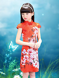 Girl's Cotton Vintage Going out Casual/Daily Holiday Floral Print Dress Cotton Summer Cheongsam Short Sleeve White Red