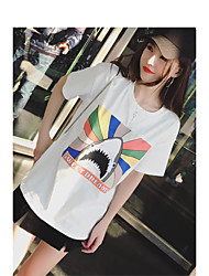 European Grand Prix 2017 new spring and summer short paragraph star with rainbow fish Jaws round neck short sleeve t-shirt woman