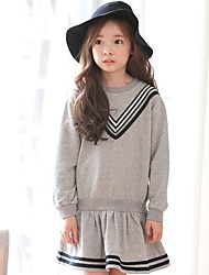 Girl's Casual/Daily School Solid Dress,Cotton Summer Long Sleeve