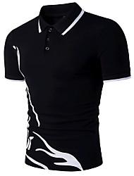 Для мужчин На выход Нарядная Лето Polo Рубашечный воротник,Простое Активный Контрастных цветов С короткими рукавами,Хлопок,Средняя