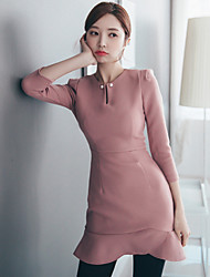 2017 spring new Korean version of personality neckline fishtail swing package hip waist dress