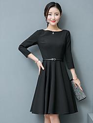 Signe la petite robe noire 2017 printemps nouveau collier coréen mince manches robe de taille une jupe mot