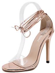 Damen-Sandalen-Kleid-PU-Stöckelabsatz-Club-Schuhe-Champagner