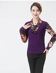 Damen Druck Chinoiserie Lässig/Alltäglich T-shirt,Hemdkragen Langarm Polyester