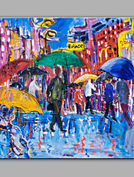 Hand-Painted Busy Streets  Modern One Panel Canvas Oil Painting For Home Decoration