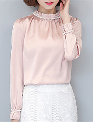 Women's Going out Casual/Daily Street chic Spring Shirt,Solid Stand ¾ Sleeve Polyester Medium