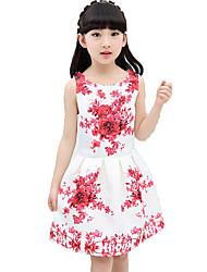 Girl's Beach Floral Patchwork Dress,Cotton Polyester Summer Spring Sleeveless