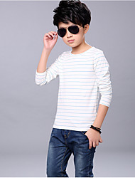 Casual/Daily Striped Tee,Cotton Spring Fall Long Sleeve