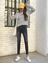 Real tiro coreano versão de burr buraco lavado jeans cintura fino selvagem fêmea pés lápis calças maré