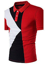 Men's Going out Casual/Daily Simple Cute Sophisticated Polo,Color Block Shirt Collar Short Sleeve Cotton Polyester