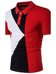 Hombre Simple Bonito Sofisticado Noche Casual/Diario Formal Polo,Cuello Camisero Bloques Manga Corta Algodón Poliéster