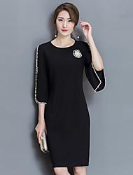 signe 2017 ressort nouvelle robe de ol de banlieue était mince manchon paquet jupe perlée noir hanche femelle