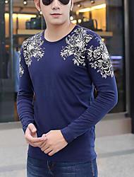 Männer&# 39; s 2016 Herbst langärmelige Rundhals T-Shirt chinesischen Wind Druck Bodenbildung schlanke große Größe Männer&# 39; s