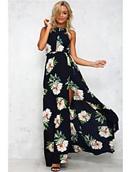 European style sleeveless halter hollow retro flower dress new spot