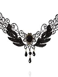 Mulheres Gargantilhas Formato Oval Formato Coroa Renda Moda Turco Clássico Preto Jóias ParaCasamento Festa Ocasião Especial Aniversário