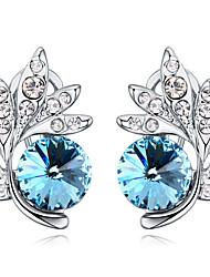 Brincos Curtos Cristal Original Floral Moda Personalizado Roxo Vermelho Verde Azul Bronze Jóias Para Casamento Festa Aniversário 1 par