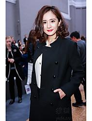 Feminino Casaco Casual Simples Inverno,Sólido Longo Lã Colarinho Chinês Manga Longa